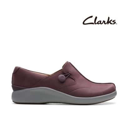 Clarks UN 全真皮厚底透氣便鞋 紫紅色