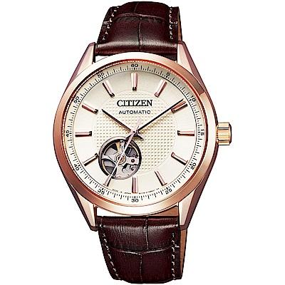 CITIZEN星辰 限量鏤空紳士機械錶(NH9110-14A)-白x咖啡/40mm