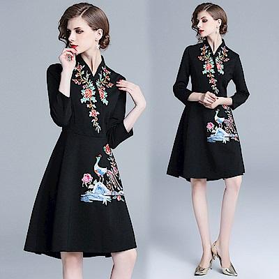 復古與時尚黑色精緻繡花洋裝S-2XL-M2M
