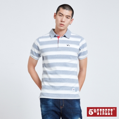 5th STREET 配色寬條紋 短袖POLO衫-男-麻灰色