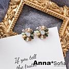 【3件5折】AnnaSofia 復古綺花寶石 純手工製耳釘耳針耳環(金系)