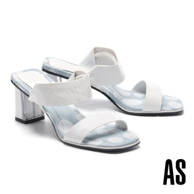 拖鞋 AS 法式優雅寬版繫帶兩穿式全真皮方頭高跟拖鞋-白