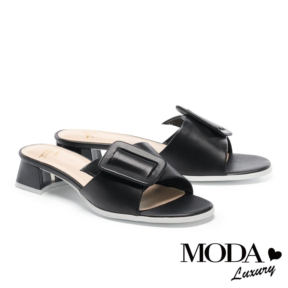 拖鞋 MODA Luxury 簡約質感大方斜釦羊皮低跟拖鞋-黑