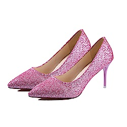 KEITH-WILL時尚鞋館 明星同款浪漫亮眼跟鞋-粉色