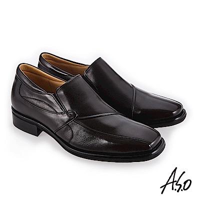A.S.O 菁英通勤 超寬楦方鞋頭真皮鞋 咖啡