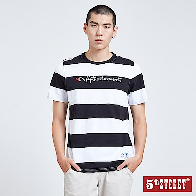 5th STREET 休閒寬條紋LOGO短袖T恤-男-黑白條