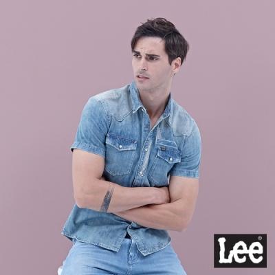 Lee  牛仔短袖襯衫 刷舊拼接縫補設計淺藍 男