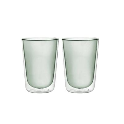 FUSHIMA富島 Addicted系列-雙層玻璃杯380ML-時尚貴族黑*<b>2</b>入