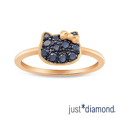 Just Diamond Hello Kitty黑鑽風潮18K玫瑰金系列 鑽石戒指