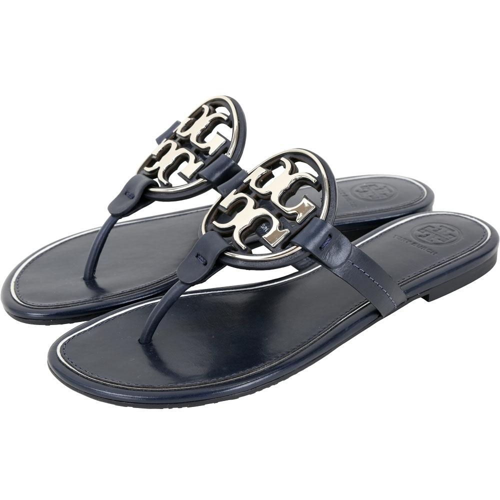 TORY BURCH Miller 品牌雙T盾牌夾腳涼鞋(深藍色)