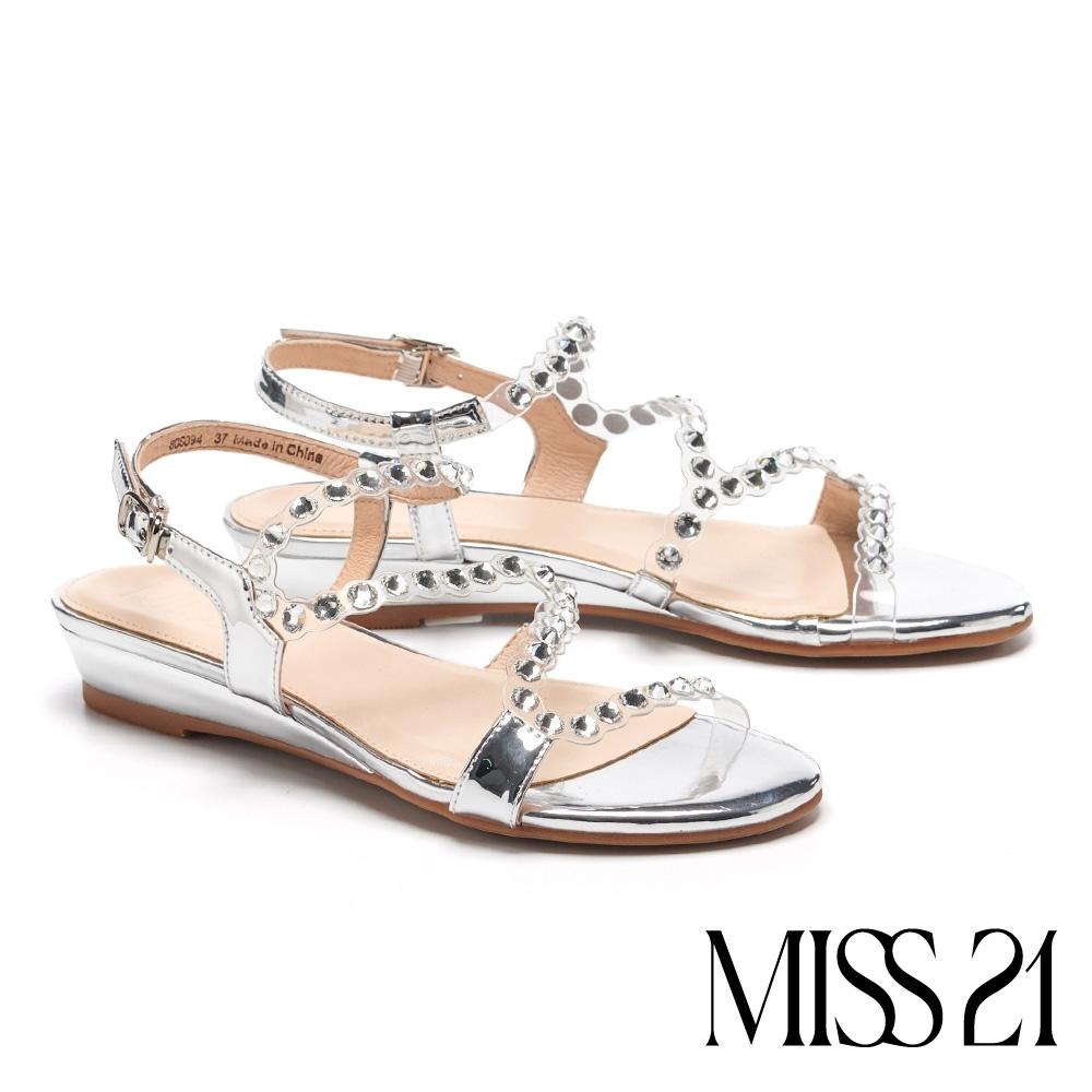 涼鞋 MISS 21 晶鑽裸透S流線設計楔型低跟涼鞋-裸透