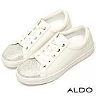 ALDO 原色綴水鑽交叉綁帶式厚底休閒便鞋~清新白色