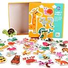 JoyNa【2組入】兒童益智配對拼圖 動物交通水果木製早教益智啟蒙玩具