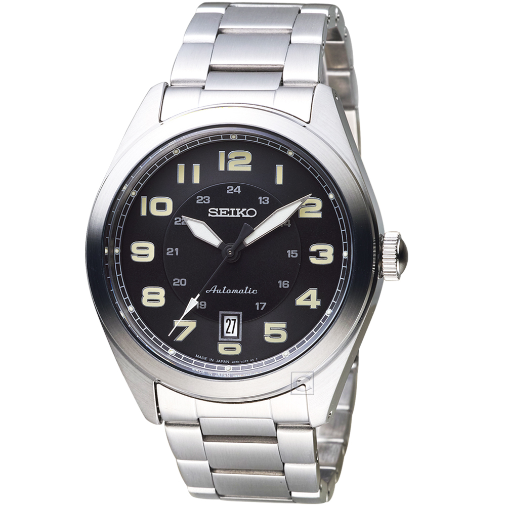 SEIKO精工飛行風格時尚機械錶(SRPC85J1)-鋼帶