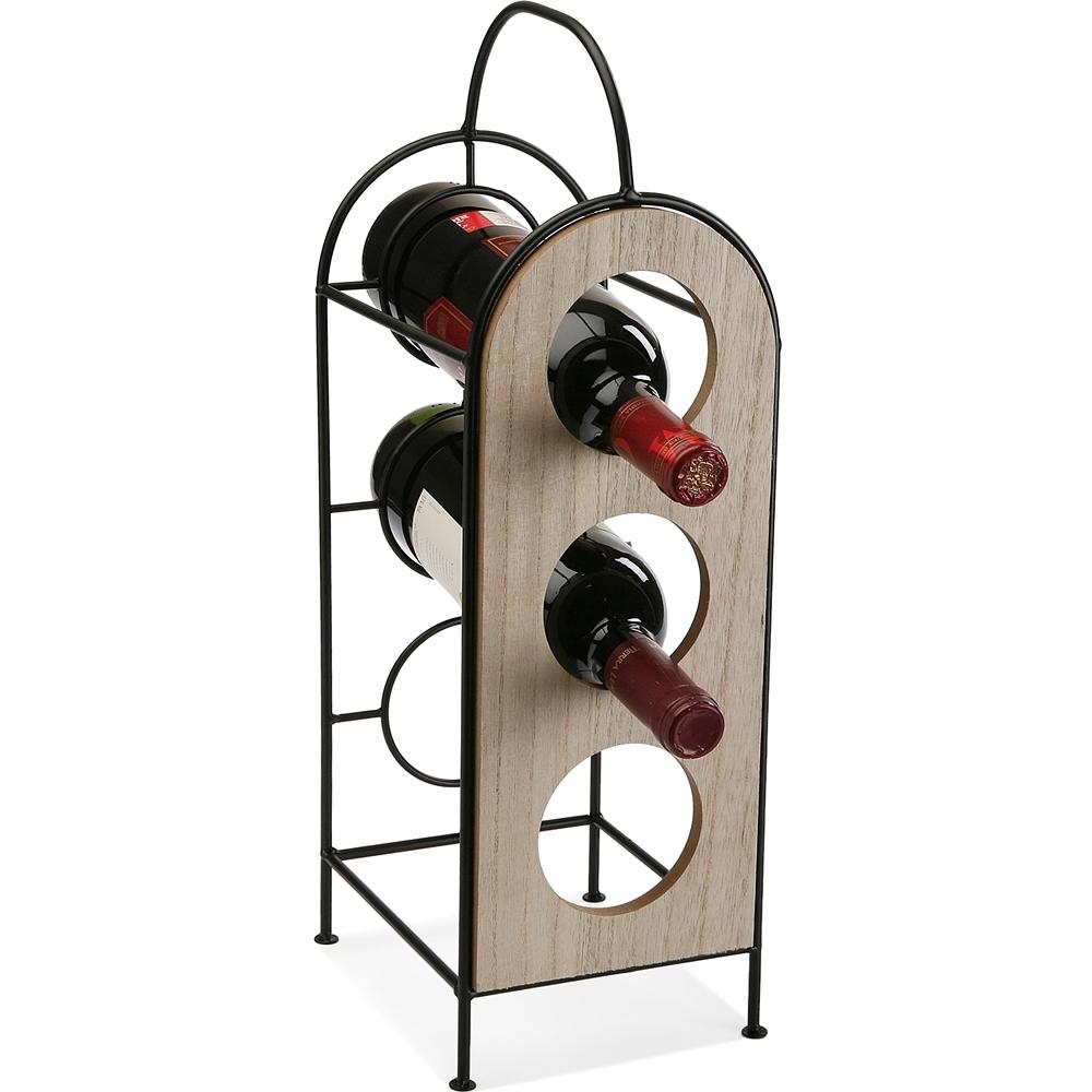 《VERSA》金屬拼木酒架(3格)