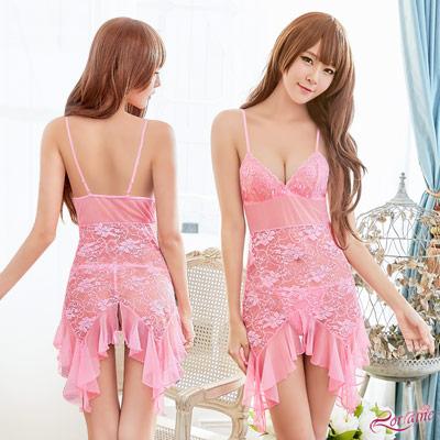性感睡衣 粉紅蕾絲柔紗荷葉裙襬二件式性感睡衣(粉紅F) Lorraine
