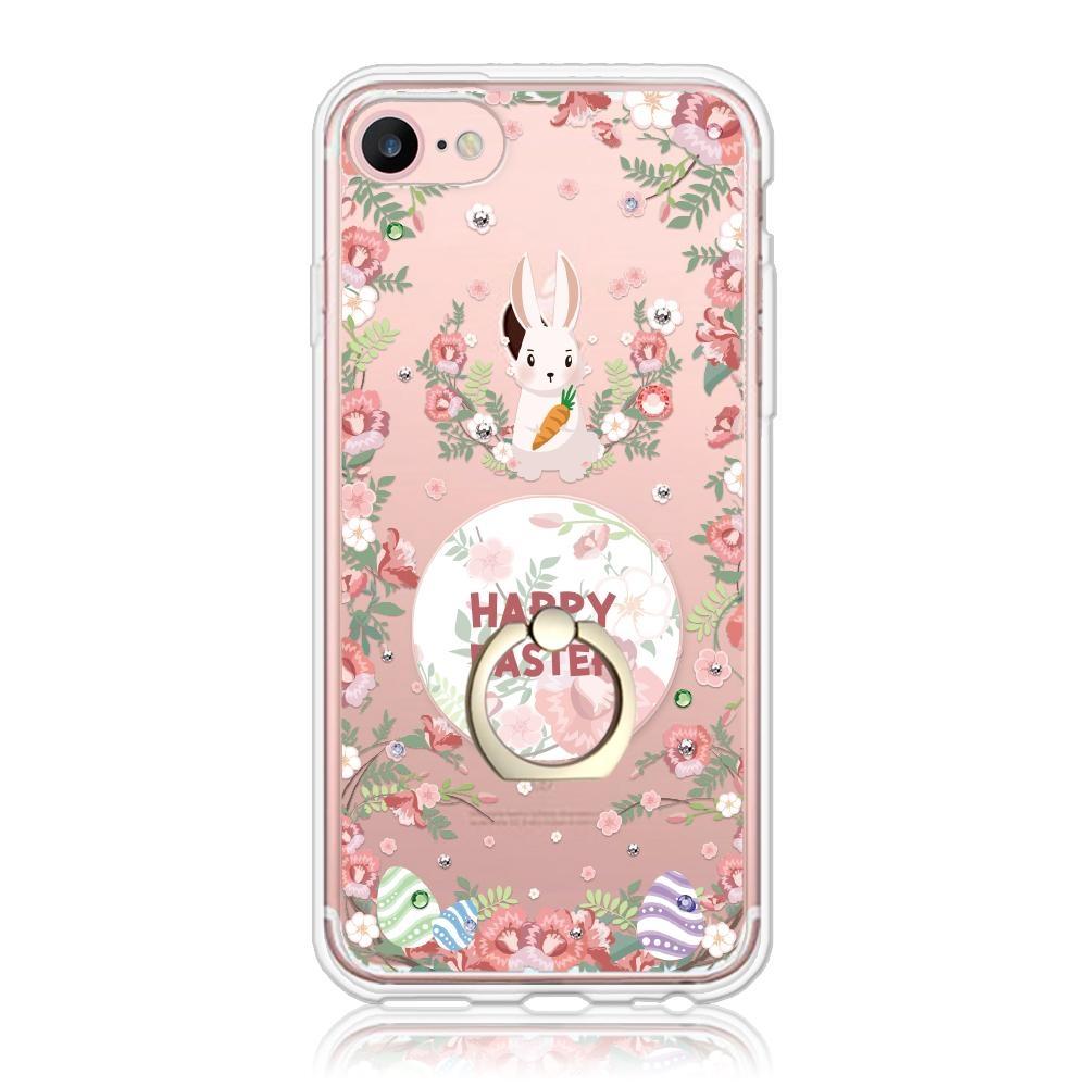 Corner4 iPhone SE(第二代/2020) / 8 / 7 / 6s / 6 4.7吋奧地利彩鑽指環扣雙料手機殼-蛋蛋兔