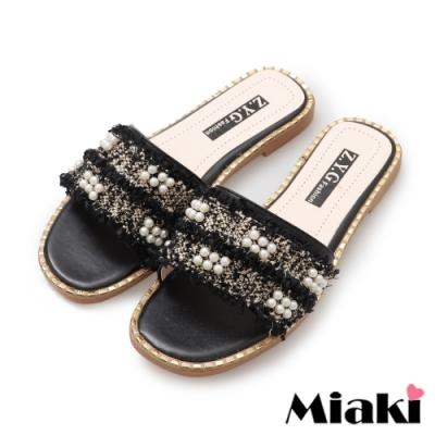 Miaki-拖鞋韓系金屬珍珠涼拖-黑