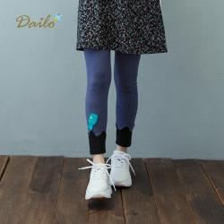 【Dailo】小魚泡泡合身-內搭褲(藍色)