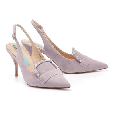 高跟鞋 HELENE SPARK 奢華復古閃鑽後繫帶全真皮尖頭美型高跟鞋-紫