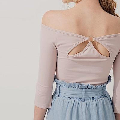 AIR SPACE 背鏤空金屬環設計舒棉上衣(粉紅)
