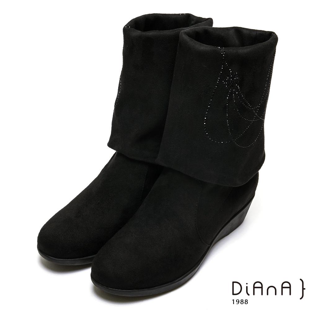 DIANA 水鑽鑲飾2WAY反摺中筒靴-都會女伶-黑