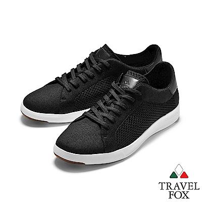 TRAVEL FOX(女) 輕雲系列  針織布面輕量抗菌都會運動鞋 - 黑色