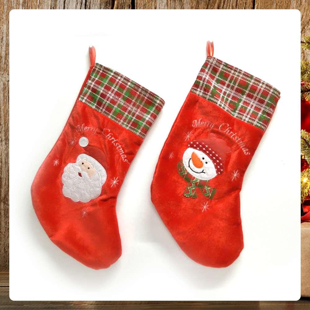 交換禮物-摩達客 紅色格紋絨布聖誕襪兩入組YS-SC160020