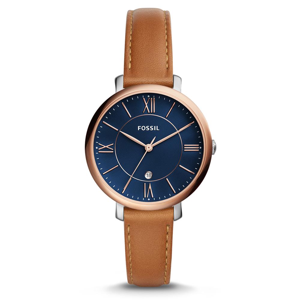 FOSSIL 珍珠流光羅馬數字皮革女錶(ES4274)-36mm