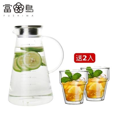 [獨家送2入玻璃杯] FUSHIMA富島 Odrink鋼蓋三角冷水壺1800ML