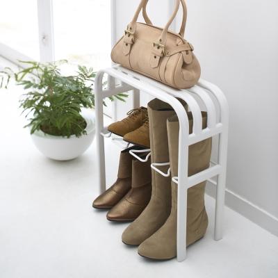 【YAMAZAKI】LINE輕感時尚置物鞋架-白★鞋櫃/靴架/長靴架/穿鞋椅