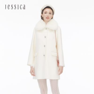 JESSICA -白色高級奢華舒適保暖毛領長版羊毛大衣