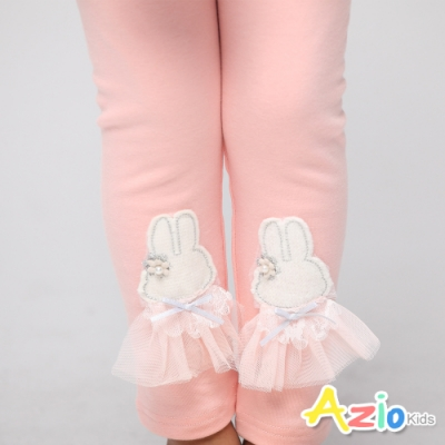 Azio Kids 女童 褲子 小白兔網紗棉質內搭褲(粉)