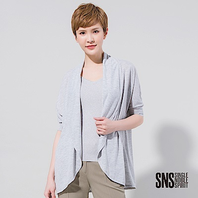 SNS 前翻領弧型下擺五分束袖罩衫(1色)