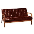 文創集 法格西時尚皮革實木三人座沙發椅(二色可選)-163x80x80cm免組