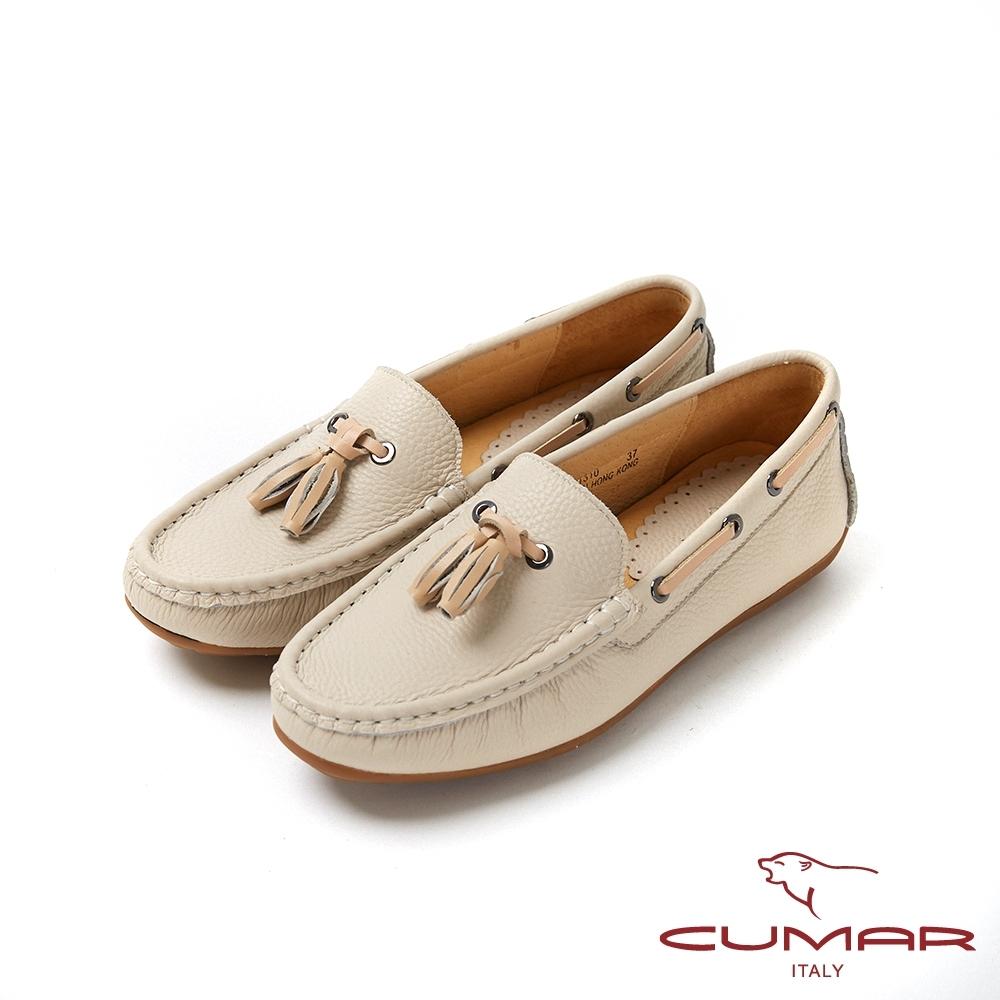 【CUMAR】悠遊輕井澤 - 簡約配色流蘇帆船鞋休閒鞋-米