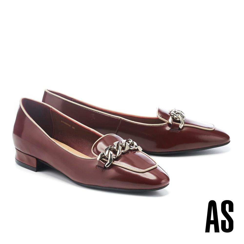 低跟鞋 AS 復古時尚感粗鏈條小方頭牛皮樂福低跟鞋-紅