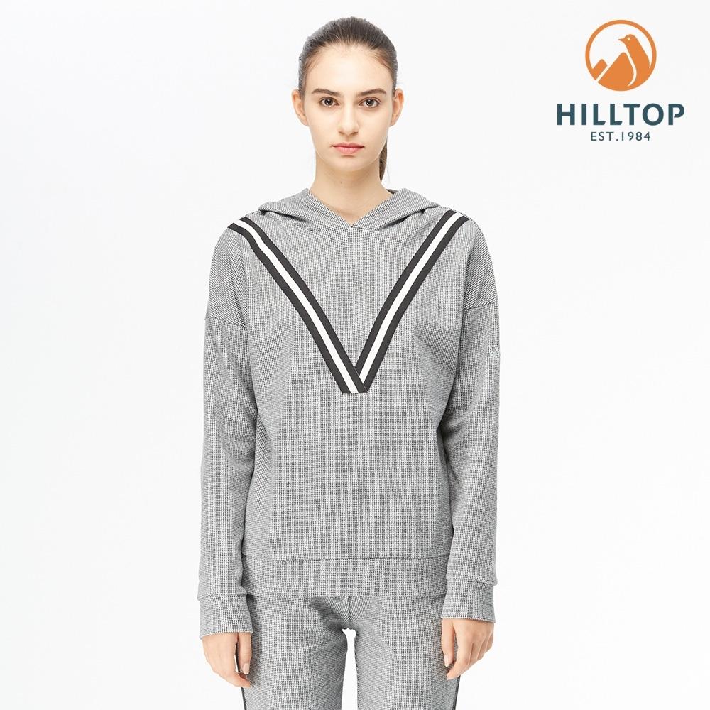 【hilltop山頂鳥】女款POLYGIENE抗菌千鳥格連帽刷毛上衣H51FJ9黑美人格子