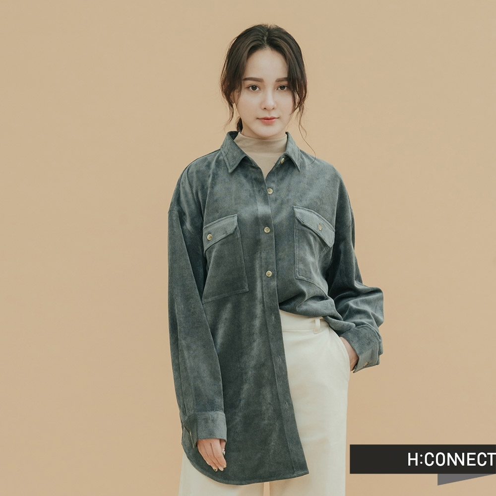 H:CONNECT 韓國品牌 女裝-雙口袋燈芯絨襯衫-綠