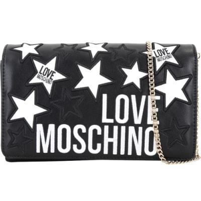 LOVE MOSCHINO 星星刺繡補丁貼皮革掀蓋斜背包(黑色)
