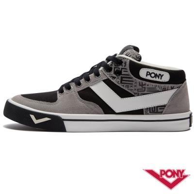【PONY】ATOP系列 經典滑板鞋 運動鞋 板鞋 男款 黑灰