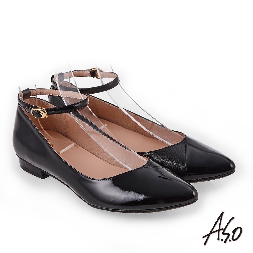 A.S.O 百變女伶 時尚亮面奈米低跟鞋 黑