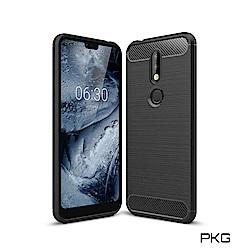 PKG Nokia 8.1 手機殼-時尚碳纖紋路+抗指紋-精緻黑
