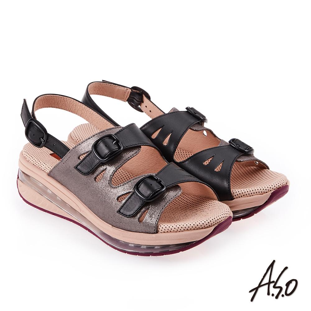A.S.O 超能力 金箔亮麗皮革雙扣奈米鞋墊休閒涼鞋 黑