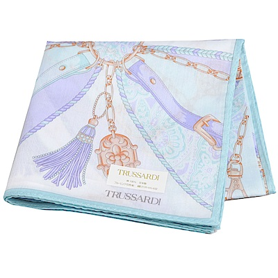 TRUSSARDI 優雅品牌皮穿鍊流蘇圖騰LOGO大帕領巾(粉藍/紫色系)