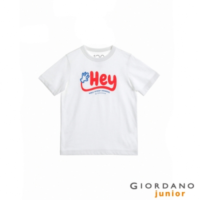GIORDANO 童裝Greeting印花條紋T恤 - 01 白