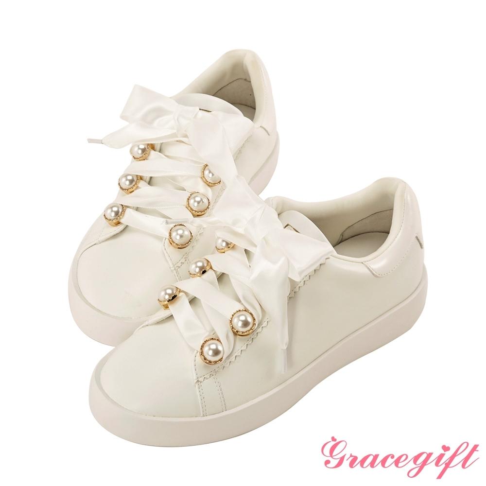 Disney collection by gracegift小美人魚珍珠緞帶休閒鞋 白