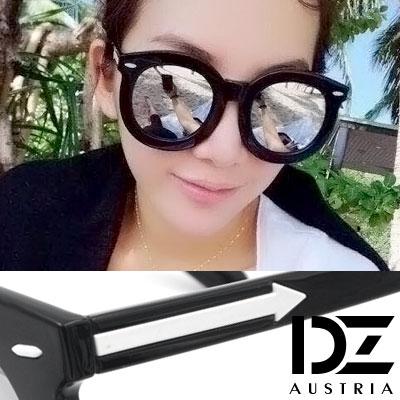 DZ 圓型粗框白箭矢 抗UV防曬太陽眼鏡墨鏡(水銀膜)