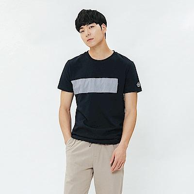 H:CONNECT 韓國品牌 男裝-拼接條紋圓領上衣-藍