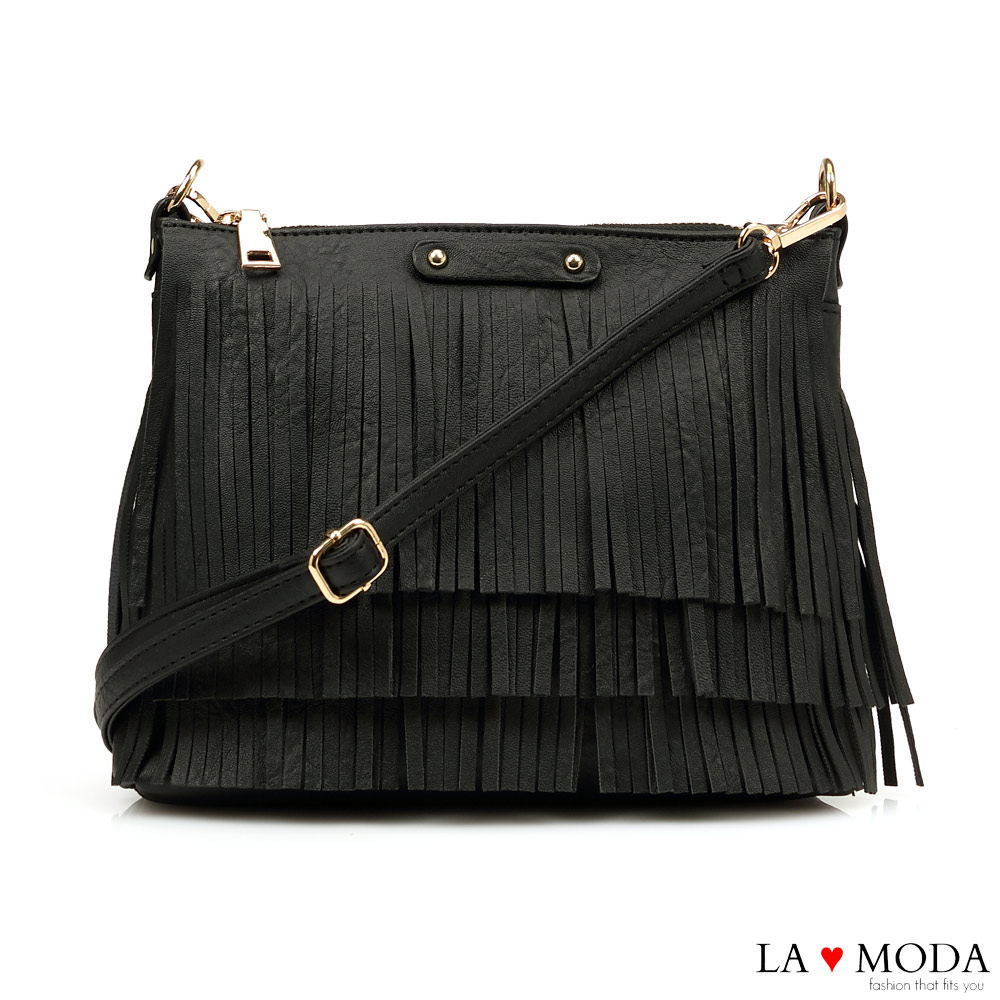 La Moda 注目度百分百流蘇綴飾大容量肩背斜背包(黑)